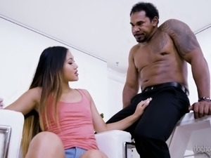 Asian nympho with quite nice bum May Thai gives a good BJ to BBC owner