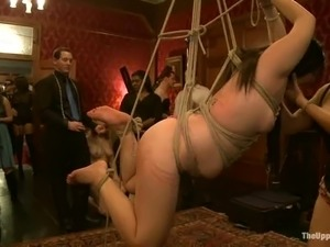 Three fat slave bitches get suspended in air and fucked from both ends