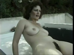 Hairy mature cunt of vintage curly haired brunette housewife is fucked