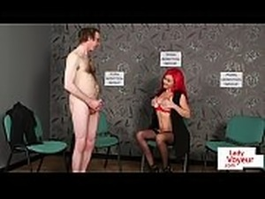Alluring bigtits femdom strips for naked sub