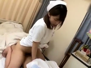 Sultry Japanese nurse in uniform has a hunger for hard meat