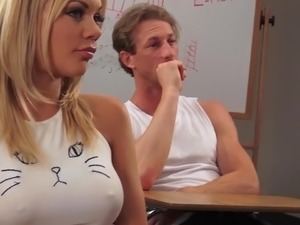 Strict prof Veronica Avluv and her colleague fuck lovely busty blondie