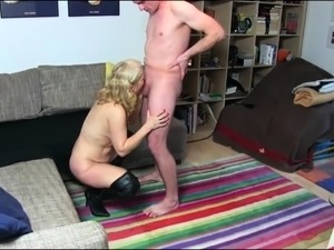 Big breasted blonde cougar gets pounded deep and creampied
