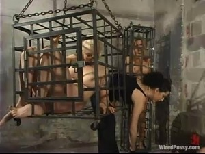 Dominant Slut Having Fun Playing with Four Submissive Blindfolded Girls