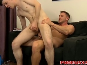 muscled hunk feeds the twink his big hard uncut cock