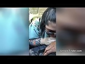 My Tattooed Girlfriend Sucking My Dick In The Car