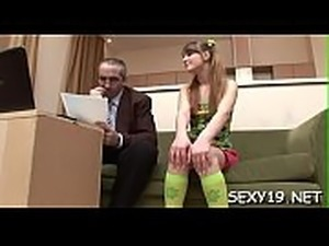 Sweet darling is receiving horny lessons from elderly teacher