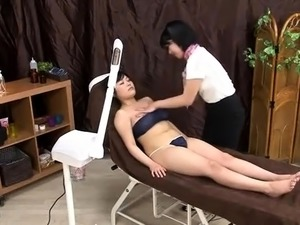 Busty Asian lady on a leash gets her twat licked and drilled
