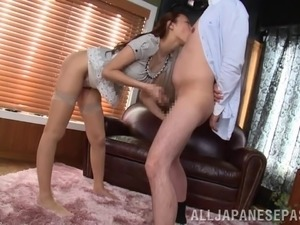 Cute Japanese babe in sexy stocking gets fucked and sucks a cock