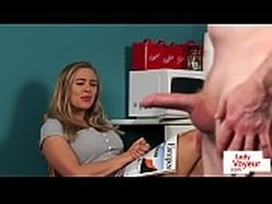 CFNM Britt instructs sub to wank in kitchen
