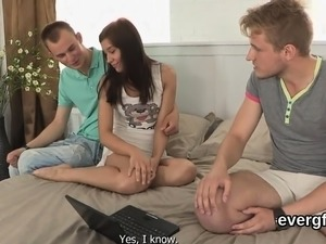 Indebted fellow lets kinky buddy to screw his girlfriend for