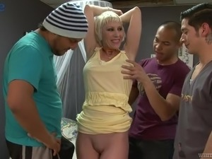 Real MILF with big boobs Dalny Marga works on three strong fat cocks
