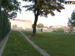 Charming Russian teen sucks dick outdoors