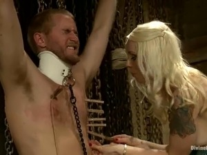 Drake Temple enjoys being tortured by dominant blonde Lorelei Lee