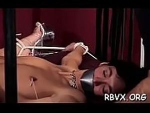 Sexy whore gets bounded and manhandled by a big dude