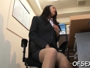 Office nympho relishes jocks and fucks in the workplace