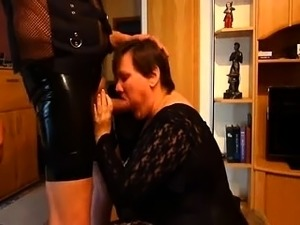 Fat wife sucks a hard dick and takes it all in from behind