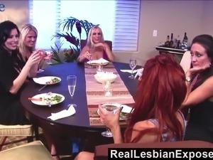 Horny housewife Kayla Quinn goes wild while eating wet pussies on counter