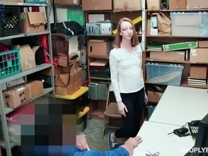 Titless pale bitch Katy Kiss gets punished with hard fuck by cop