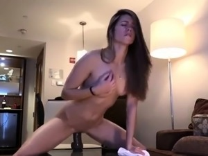 Sexy amateur camgirl buries a big toy deep inside her cunt