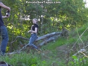 Bitchy blond head teen enjoys doggy style hammering while camping