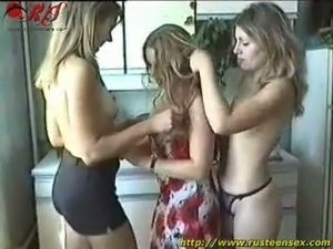 Three amateur Russian babes show off their round asses and pussies