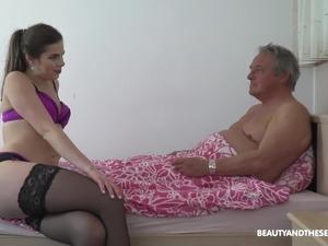 Beautiful horny niece watches grandpa read his porno