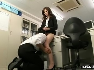 Stunning office slut Rinka lures her Jap colleague to ride his strong cock