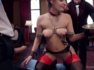 Slender bitches go wild during bondage and cock riding workout