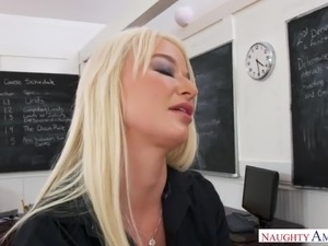 Big breasted blonde tutor London River punishes naughty student with fuck