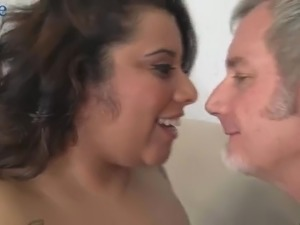 Big breasted chubby whore is actually happy to get her disgusting cunt fucked