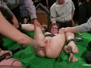 Nerdy bitch gets her meaty cunt fingered and fucked in BDSM vid
