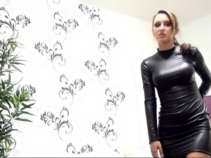 Slender brunette in latex takes a big cock for a wild ride