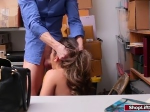 Brunette shoplifter caressed and fucked by officer in charge