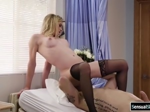 Busty ts blonde sucked and analed by doctors big cock