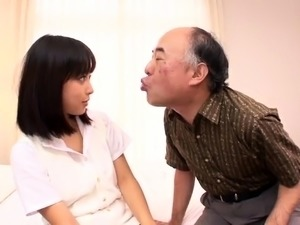 Adorable Japanese teen has a horny old man pounding her cunt