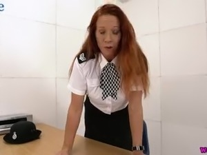 Giant breasted redhead MILF Faye Rampton is eager to tickle her twat a bit