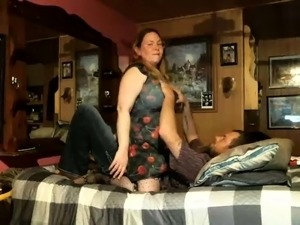 Voluptuous mature wife jumps on top of her lover on webcam