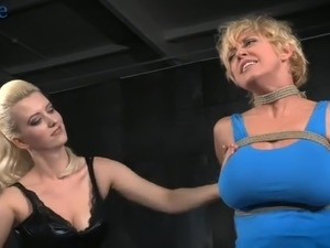 Ardent blondie Dee Williams is so into some breast bondage and BDSM