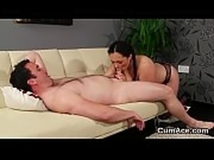 Nasty centerfold gets cumshot on her face swallowing all the charge