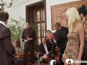 Horny babes are fucked in a hot gangbang.mp4