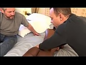 Ebony babe rides her masseur instead of her hubby