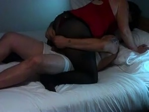 Pantyhosed mature wife with a big booty rides a stiff cock