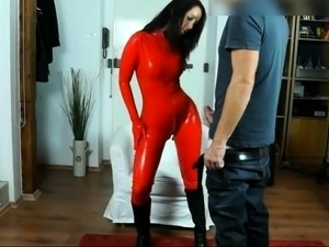 Sexy brunette in latex takes a hard fucking and a hot facial