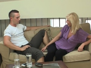 His blonde gf takes deep oral and hard vaginal punishment