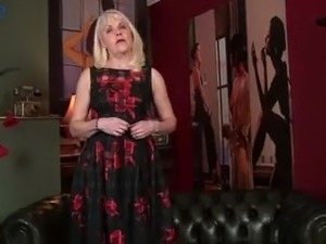 All alone mature blond head in sexy stuff Margaret Holt pets her pink pussy
