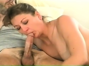 Stacked mature brunette works her sexy lips on a thick cock