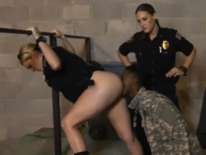 Fraudulent soldier gets his cock sucked
