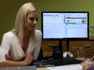LOAN4K. Cutie has to spread legs in office for solving her..
