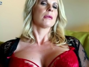 Big breasted cougar Sammi Rox is all alone and masturbates wet pussy